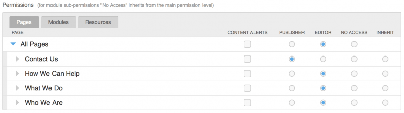 BigTree CMS User Permissions